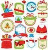 Set von Weihnachts-Winter-Lables Symbole flach Sammlung