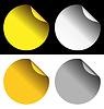 goldene und silberne Aufkleber und schwarze Hintergründe