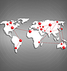 Weltkarte mit roten Punkt markiert auf Graustufen-
