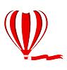 Red Heißluftballon in Form von Herzen mit Ausschnitt