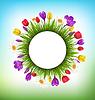 Kreis-Rahmen mit Gras und Blumen. Floral Art
