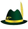 Grüner Hut mit goldenen Feder, Band und Verzierung