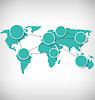 Weltkarte mit Kreis Informationsmarkierungen auf Graustufen