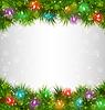 Mehrfarbige Weihnachtsbeleuchtung auf Tannenzweigen auf
