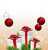 Geschenk-Boxen mit Tannenzweigen und Weihnachtskugeln o