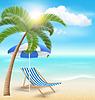 Strand mit Palmen Wolken Sonne Sonnenschirm und