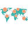 Weltkarte mit Kreis Informationen Marks