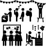 Satz flacher Valentins Tag Office-Symbole