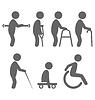 Disability Menschen Piktogramme flache Ikonen