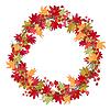 Runde Saison Kranz mit Herbstlaub und Beeren