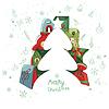 Weihnachten-Vorlage mit Tanne und Geschenk-Boxen.