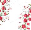 Hintergrund mit Rosen und Kräutern. Weiß und rosa Farbe