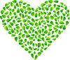 Heart of frischen grünen Blättern
