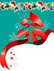 Weihnachts-Grußkarte mit rotem Band