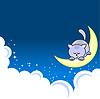 Pequeño gato durmiendo en media luna | Ilustración vectorial