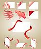 Leere weiße Karten mit roten Bändern
