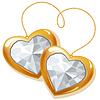 다이아몬드와 두 개의 골드 마음 | Stock Vector Graphics