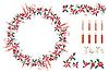 Satz von verschiedenen Kerzen und Weihnachtsdekoration