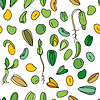 Nahtlose Muster mit verschiedenen Samen. Endlos