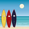 Drei Surfbretter, Strandurlaub. Extremsport