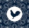 Vektor Cliparts: Hahn-Silhouette Vogel Muster des neuen Jahres Symbol 2017