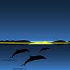 Vektor Cliparts: Dolphins Familie Meerestier Landschaft