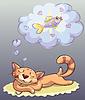 Векторный клипарт: кот сон и сновидения