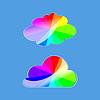 Векторный клипарт: Набор стильных цветных облаков. цвета радуги в