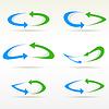 Векторный клипарт: набор простых круглых значков со стрелками. Кнопка refresf