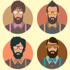 Векторный клипарт: набор заниженной талией моды человек с усами, бородой