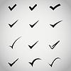 Векторный клипарт: черные иконки подтверждают на сером фоне