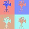 Векторный клипарт: Фильм камеры. четыре вида цветных винтажных камер