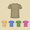 Векторный клипарт: Набор красочных мужчин футболки.