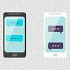 Векторный клипарт: Смартфон чате шаблон смс пузыри на прохладный