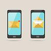 Векторный клипарт: два телефона с полученного сообщения, и открыть на