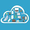Векторный клипарт: офис и работа в облаке в Интернете. бизнес,