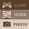 Векторный клипарт: Три полоски иконок на тему игр, фотографий,
