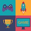 Векторный клипарт: игра Иконы размещены в четырех областях. ,