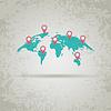 gekrümmte Weltkarte mit Erde Marker