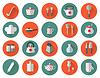 Küchengeräte und Kochgeschirr flachen Icons Set,