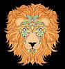 Kopf des Löwen auf schwarzem Hintergrund