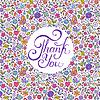 Векторный клипарт: Цветочные Спасибо карты
