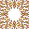 Векторный клипарт: рамка с абстрактными красочными перьями