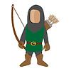 Средневековый характер значок лучник мультяшный | Векторный клипарт