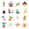Circus flachen Icons Set