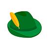 Grüner Hut mit Feder isometrische 3D-Symbol