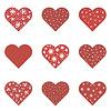 Vektor Cliparts: Rote Herzen Set