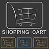 Metallic Einkaufswagen-Symbol, Tasten-Design-Set