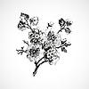 Hand gezeichnet Zweig mit Blumen, Jahrgang isoliert