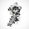 Hand gezeichnet Zweig mit Blumen auf der Diagonalen, vintage